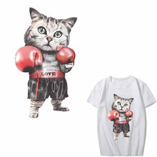 Cute Cat Patch Heat Transfer Vinyl Printing Cat Boxing T-shirt Girl Iron on Patches for Clothing Stickers DIY Thermal Press fashion patch diy clothes super cat 3d stickers thermal transfer printing iron on patches for clothing t shirt free shipping