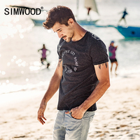 SIMWOOD 2017 Summer New T Shirts Men Special Cotton Fabric White Dot Embroidered Letter Slim Fit