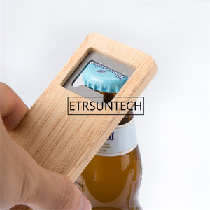 Image 1 - 10pcs Wood Beer Bottle Opener Wooden Handle Corkscrew Stainless Steel Square Openers Bar Kitchen Accessories Party Gift