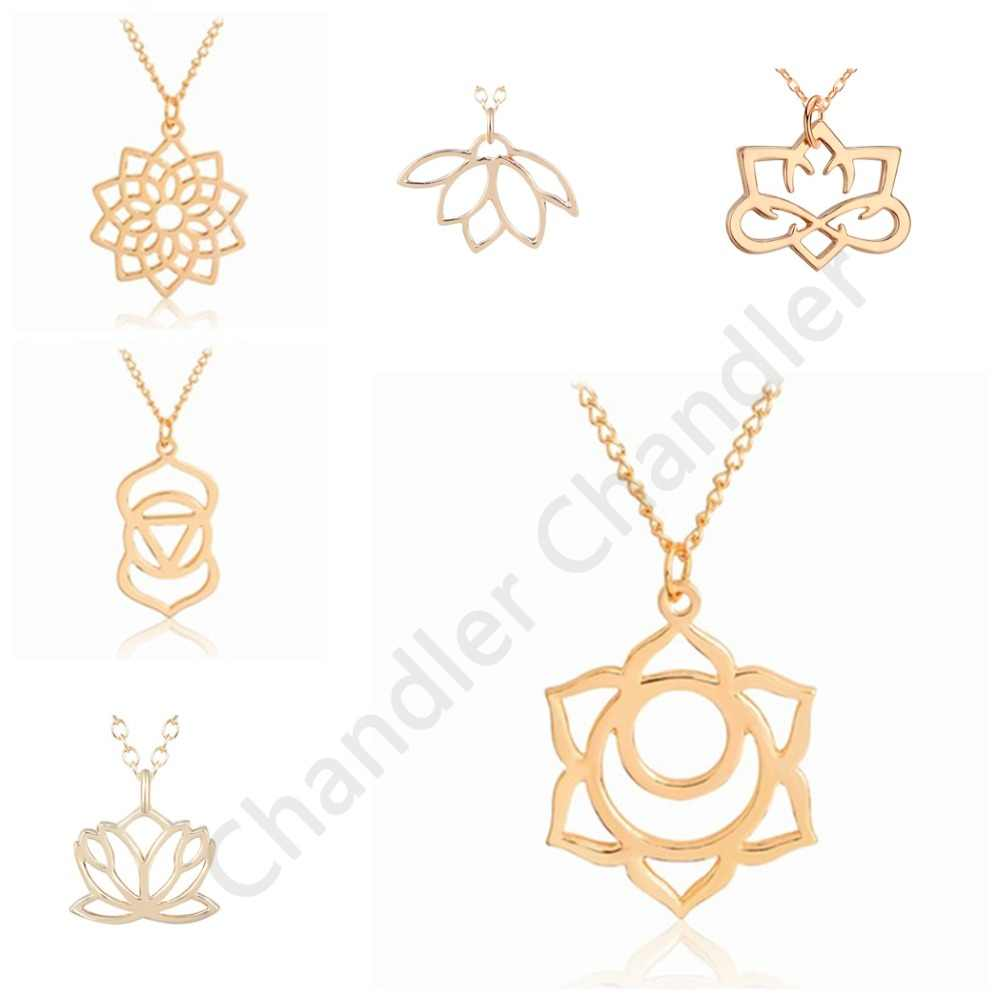 Chandler Good Karma Buddha Lotus Pendant Necklace For Women Yoga Prayer Buddhism Jewelry Wholesale Short Chain Chokers Collars