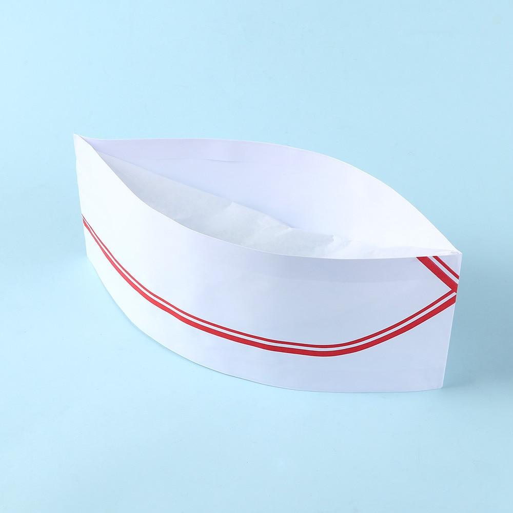 10pcs/set 2 Colors Disposable Dustproof Anti-fouling Adjustable Baker Paper Chef Hat Men Low Cook Catering Cap