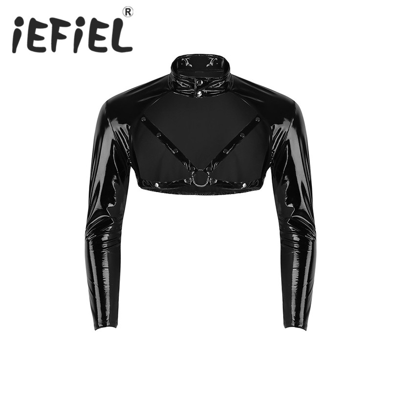 Mens Soft Faux Leather Cut Out Muscle Tank Top Vest Harness Nightclub Costume