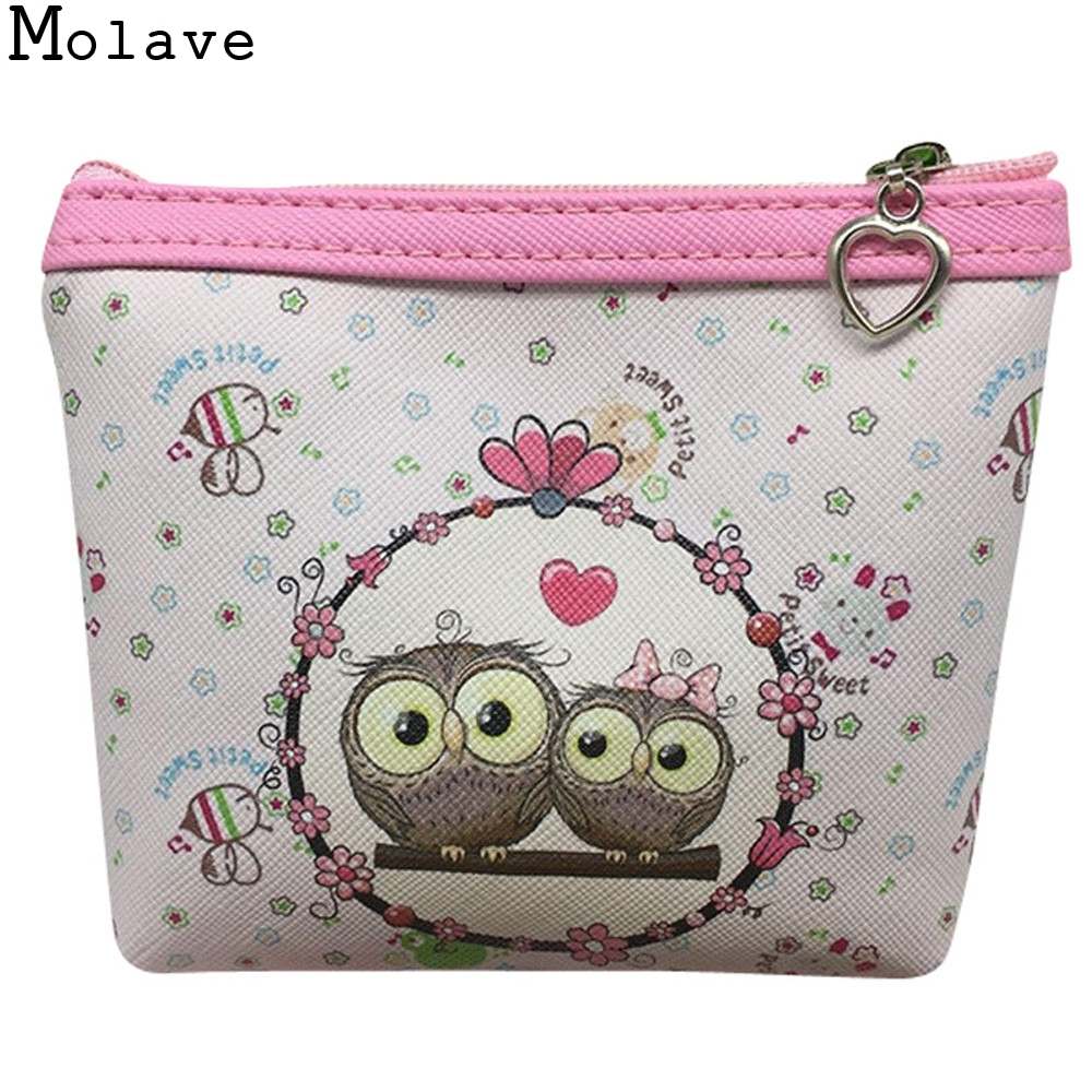 2017 New Fashion Women Owl Cute Pu Leather Change Purse Wallet Bag Girls Coin Card Money Pouch Portable Purse Small Bag Jan12