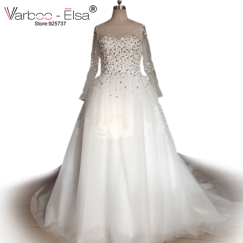 Ball Gown Wedding Dress 2018 Rhinestone Crystal Sequin