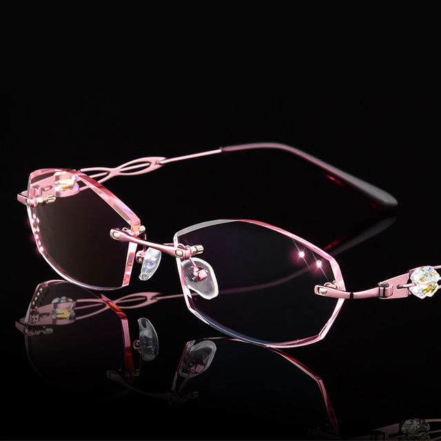 1ed6cce16b6 Luxury Eyeglasses Rimless Women Myopia Prescription Eye Glasses Diopter  Rhinestone High Clear Lenses Ladies Near sighted Eyewear