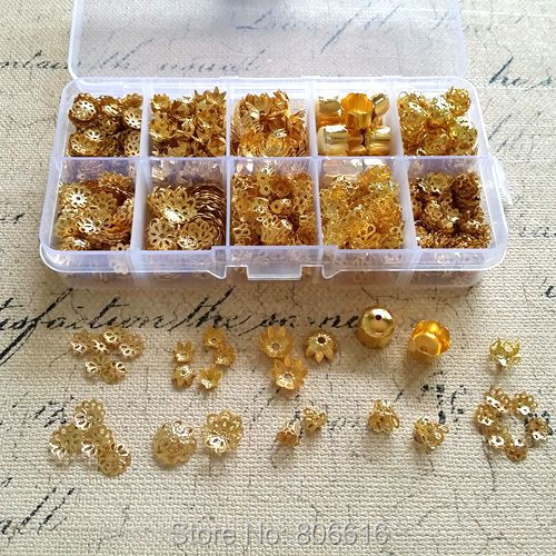 ( Gold - Bead Cap ) 1500Pcs/Set Mix 10 Styles Color Caps & Box Jewelry Findings& Accessories lia DIY jewelry accessory store