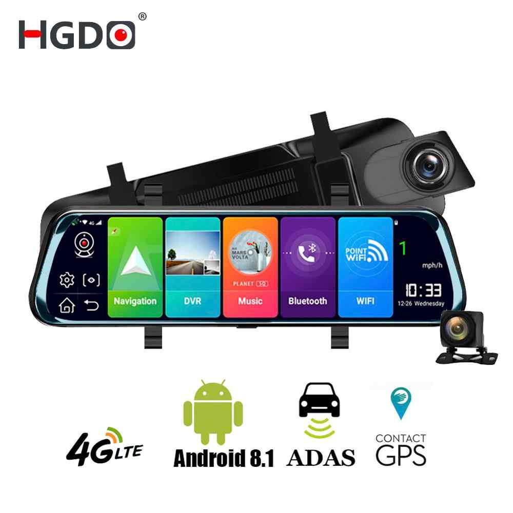 Hgdo 4g adas 자동차 dvr 카메라 10 인치 안 드 로이드 스트림 미디어 후면보기 미러 fhd 1080 p wifi gps 대시 캠 등록 비디오 레코더