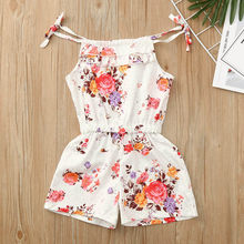 Toddler Kids Baby Sunsuit Girls Fashion Romper Floral Outfits Clothes Sleeveless Flower Print Romper Jumpsuit Summer 2019(China)