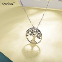Tree of Life Pendant Necklace 925 Sterling Silver with Mystic Stone Tree Jewelry Family Tree Gift For Mom P6021B