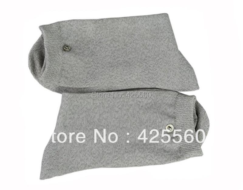 1 Pair Conductive Slivery Fiber Electrode Massage Socks Use For TENS/EMS Unit soothing massage bottom plain socks