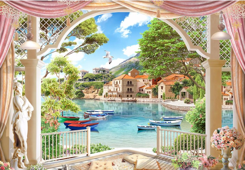 Modern wallpaper customized 3d wall murals roman garden for Mural garden