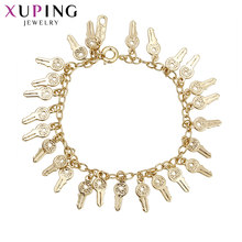 Xuping Fashion Jewelry Light Yellow Gold Color Plated Bracelets for Women Girls Key Design Bracelets Halloween Gifts S65,6-74756(China)