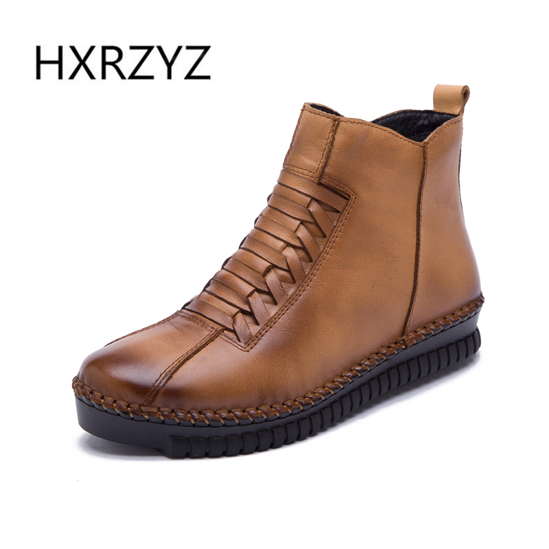 ФОТО HXRZYZ womens boots winter new hand stitched side zipper genuine leather flats womens winter boots casual shoes women shoe