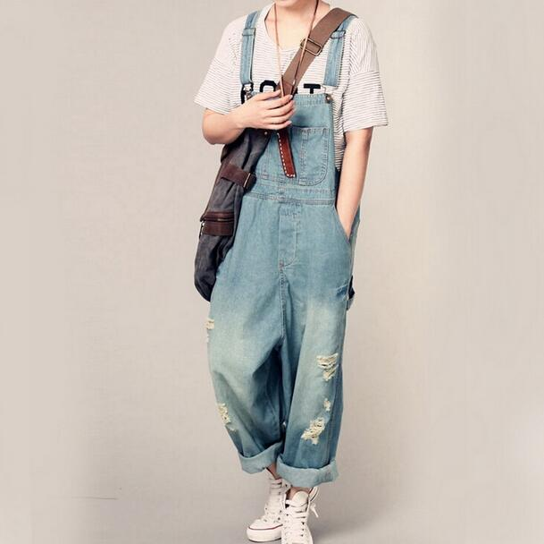 crazy price buy cheap attractive & durable US $33.59 15% OFF|New Womens Ripped Hole Loose Pants Pockets Jeans Overalls  Baggy Rompers Jumpsuit Denim Overalls D796-in Jumpsuits from Women's ...