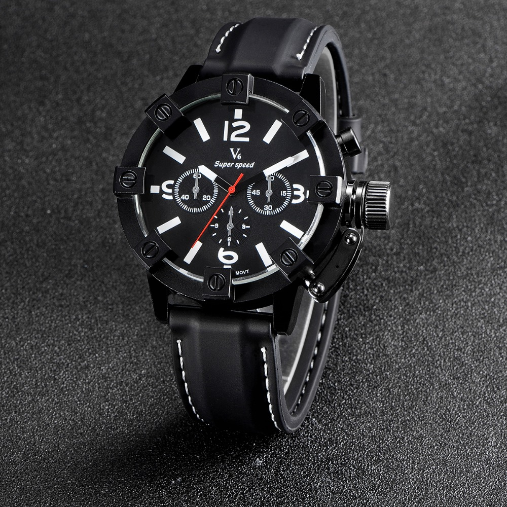 New Vogue Fashion V6 3D surface Case Black Male Analog Quartz Watch Military Men Business Casual Wrist watch relojes Hombre Gift