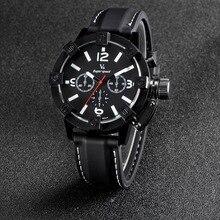 Nueva Manera de la Voga V6 de superficie 3D Caso Negro Hombres Analógico Reloj de cuarzo Militar Hombres de Negocios Casual reloj de Pulsera relojes Hombre regalo
