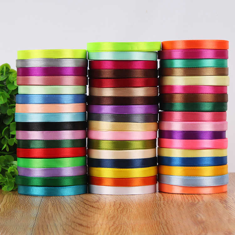 10mm 25 Yard Single Face Silk Satin Ribbon Cheap Decorative Gift Wrap Wedding Christmas Crafts White Pink Red Black Ribbons