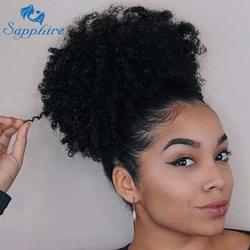 Афро кудрявый вьющиеся хвост для Для женщин натуральный черные волосы Remy цельнокроеное платье клип в хвостики шнурок 100% человеческих волос