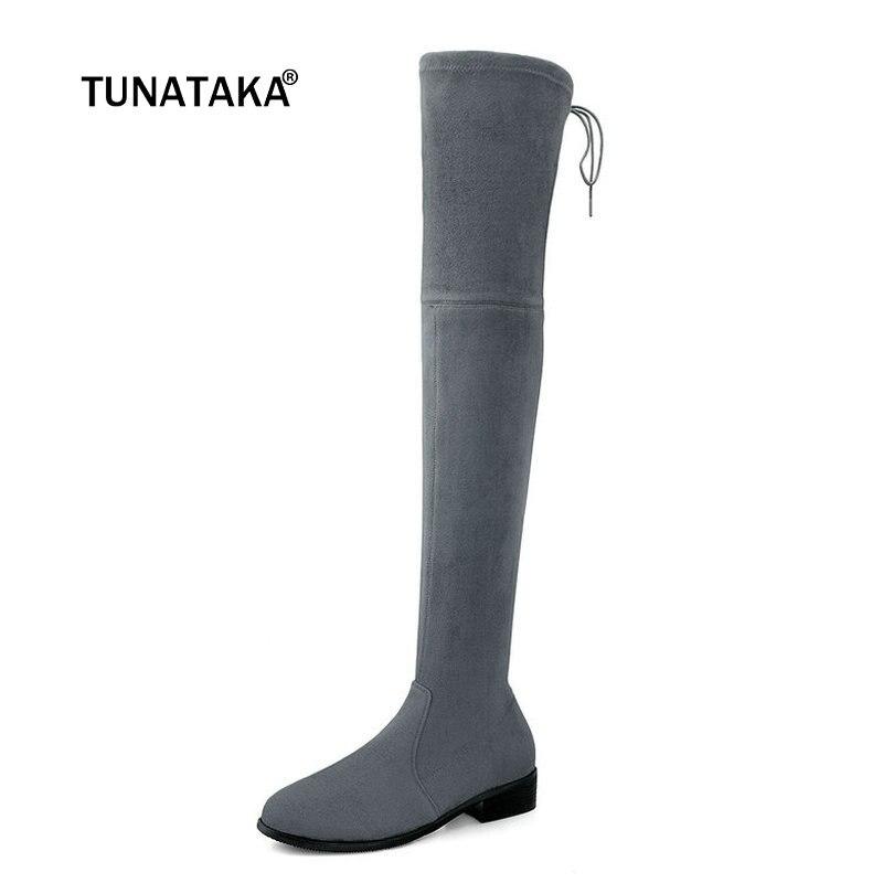 купить Women Suede Comfort Low Heel Over the Knee Boots Fashion Slip On Round Toe Boots Ladies Fall Winter Stretch Thigh Boots Black по цене 4499.05 рублей
