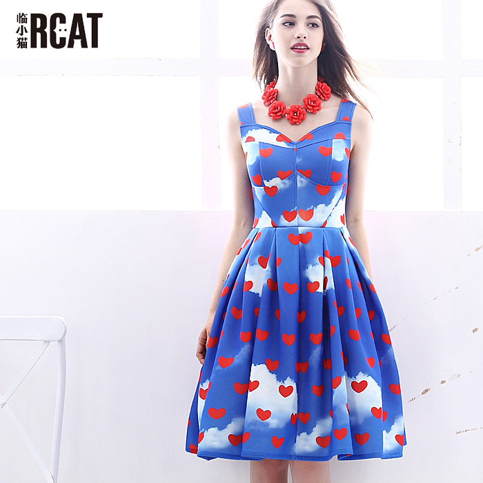 Fashion 2016 Summer dress party dresses Women print corset vintage spaghetti strap full dress Suspenders dress woman's gown sweet floral print spaghetti strap hollow out dress swimwear for women