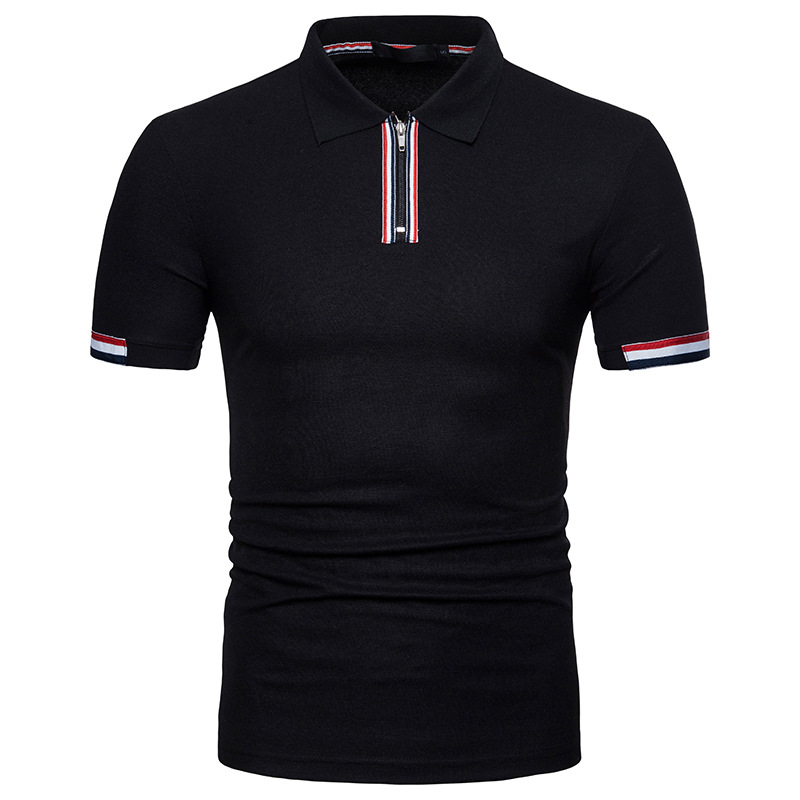 Summer Polo Shirt Slim Short Sleeves Polos Shirts Male Business Male Breathable Tops Fashion Men Clothing Zipper Cotton 20pcs