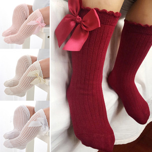 Newborn baby girls socks Summer Mesh socks kids bow knee high long socks sokken princess infant baby knee socks calcetines(China)