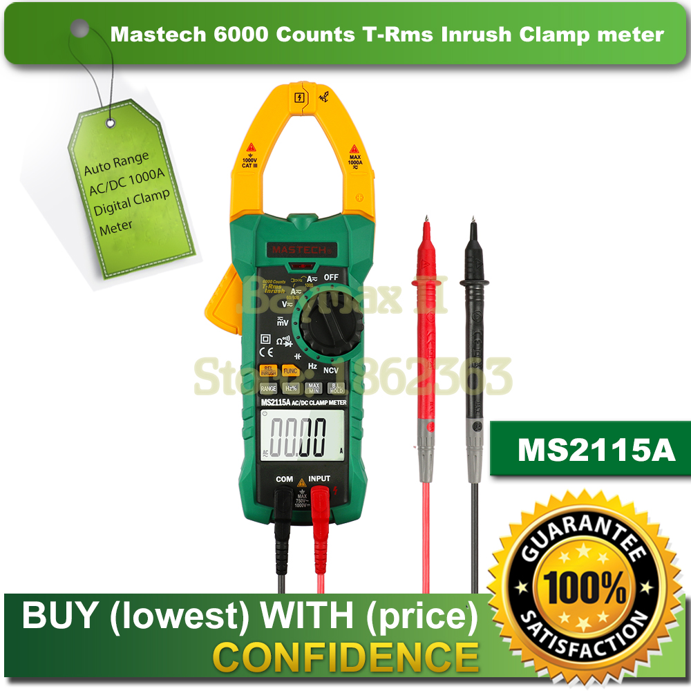 Mastech MS2115A 6000 Counts True RMS Digital Clamp Meter AC/DC Voltage Current Tester with INRUSH and NCV Measurement недорго, оригинальная цена