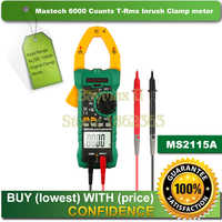 Mastech MS2115A 6000 compte le véritable mètre de pince numérique RMS testeur de courant de tension ca/cc avec mesure d'appel et de NCV