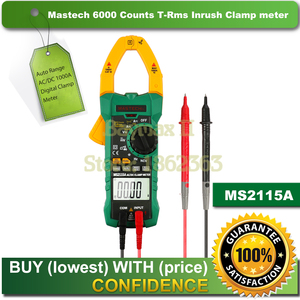 Mastech MS2115A 6000 Counts True RMS Digital Clamp Meter AC/DC Voltage Current Tester with INRUSH and NCV Measurement(China)