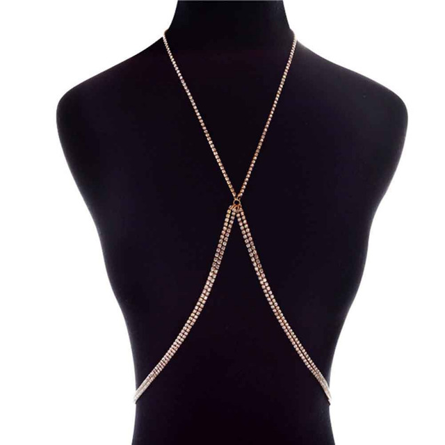 Luxury Rhinestones Inlaid X Shape Sexy Body Chain Silver Gold Crystal Cross Body  Jewelry Bikini Beach Maxi Choker f2c41f78a874
