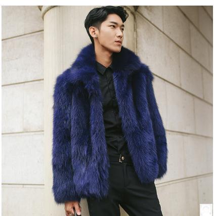 Male Casual Dark Blue Fox Fur Jackets Large Size Mens Turn Down Collar Winter Autumn Man-Made Fur Coat Outwear Casaco S/5Xl Cj61