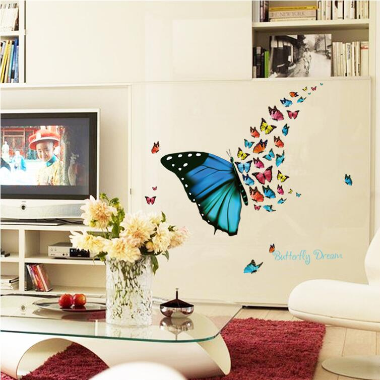 Aliexpress.com : Buy Colorful Flying Butterfly Wall Sticker For Kids Rooms  Home Decor Cartoon Tatoos Home Decoration Decals Wall Art Sticker Poster  From ... Part 93
