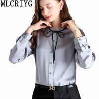 Solid Women Blouse 100% Silk Women's Fashion Blouses Plus Size Long Sleeve Shirts Ladies Office Work Elegant Female Tops YQ152