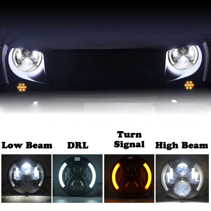 For lada niva 4x4 7Inch Round Led Headlight Halo Ring Angel Eye Projector Headlamp For Jeep Wrangler Black Blue Pair цена и фото