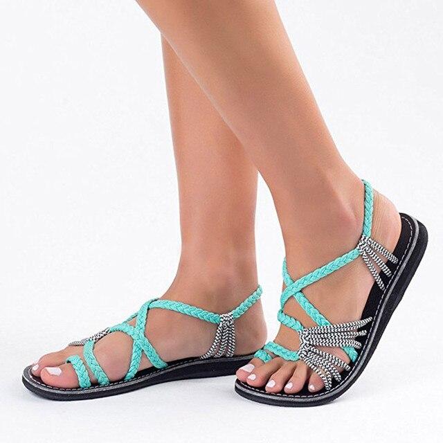 2019 Phụ Nữ mùa hè Sandals Thời Trang Võ Sĩ Giác Đấu Giày Sandal Mùa Hè Giày Nữ Đế Bằng La Mã Chéo Phong Cách Buộc Giày Sandal Giày 35- 44