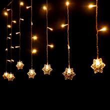 Holiday Lighting 220V 2M*0.6M 60LED Snowflake Home Xmas Decoration Christmas Lights Outdoor Waterproof Fairy Curtain String Lamp