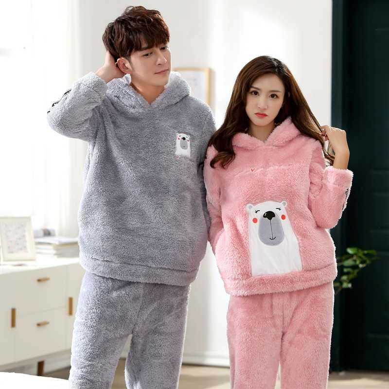 2018 Winter Couples Hooded Thick Warm Flannel Pajama Sets for Women Long  Sleeve Velvet Pyjama Men feef2c80f