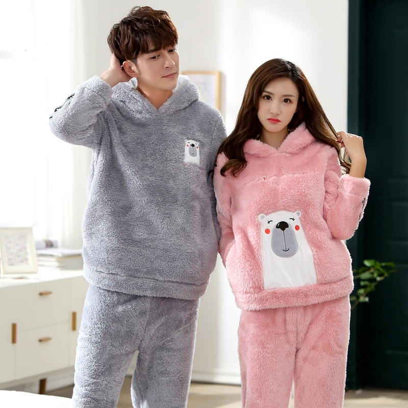 2018 Winter Couples Hooded Thick Warm Flannel Pajama Sets for Women Long Sleeve Velvet Pyjama Men Cute Cartoon Cosplay Sleepwear