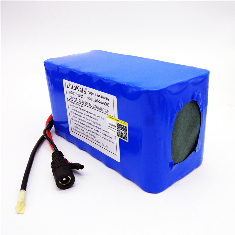 HK LiitoKala 24V 6Ah 7S3P lithium ion battery 18650 29.4V 6000MAH for electric bicycle 24v 10 ah 6s5p 18650 battery lithium battery 24 v electric bicycle moped electric li ion battery pack