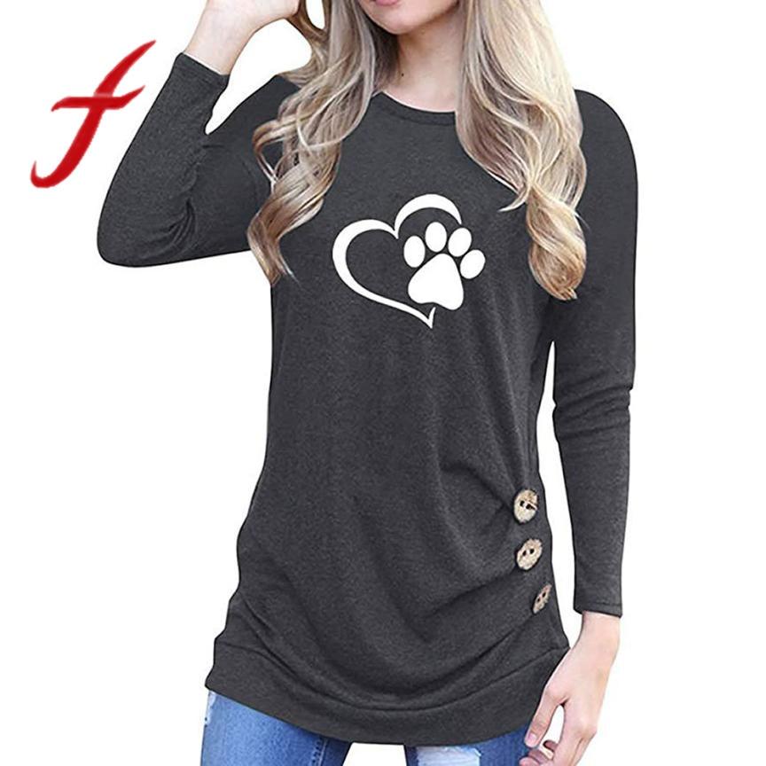 4cc4c9785fa Feitong 2019 Women T-Shirt Autumn O-Neck Printed Long Sleeve Loose Buttons  Tops