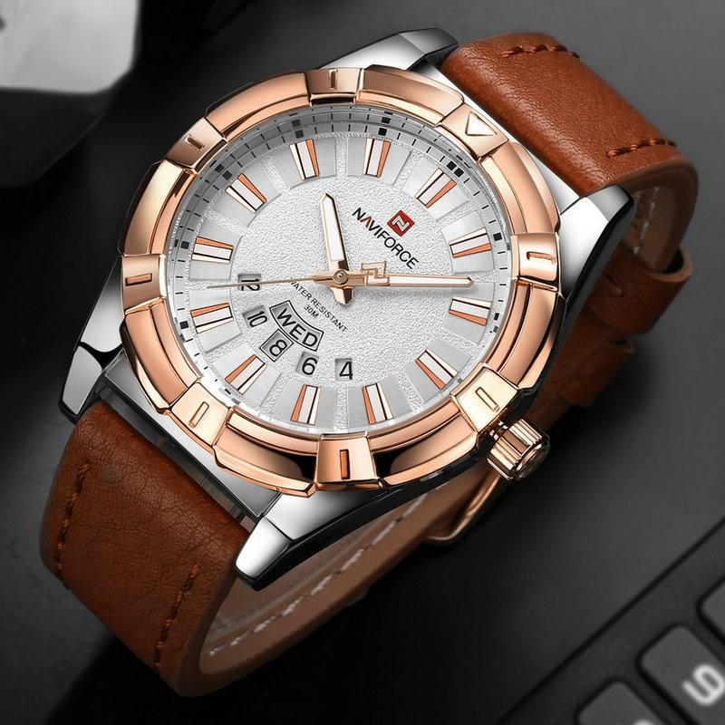 Men Quartz Watch NAVIFORCE Fahion Brand Mens Waterproof Sport Watches Man Casual Analog Wristwaches Leather Calendar Gold Clock