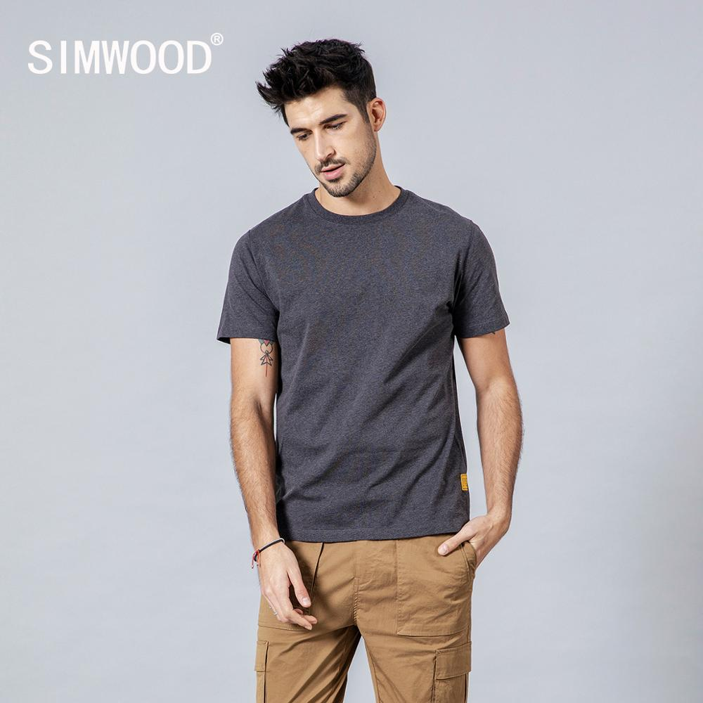 SIMWOOD 2020 Summer New 100% Colored Cotton T Shirt Men Crew Neck Short Sleeve T-shirt Casual High Quality Tees Tops 190116