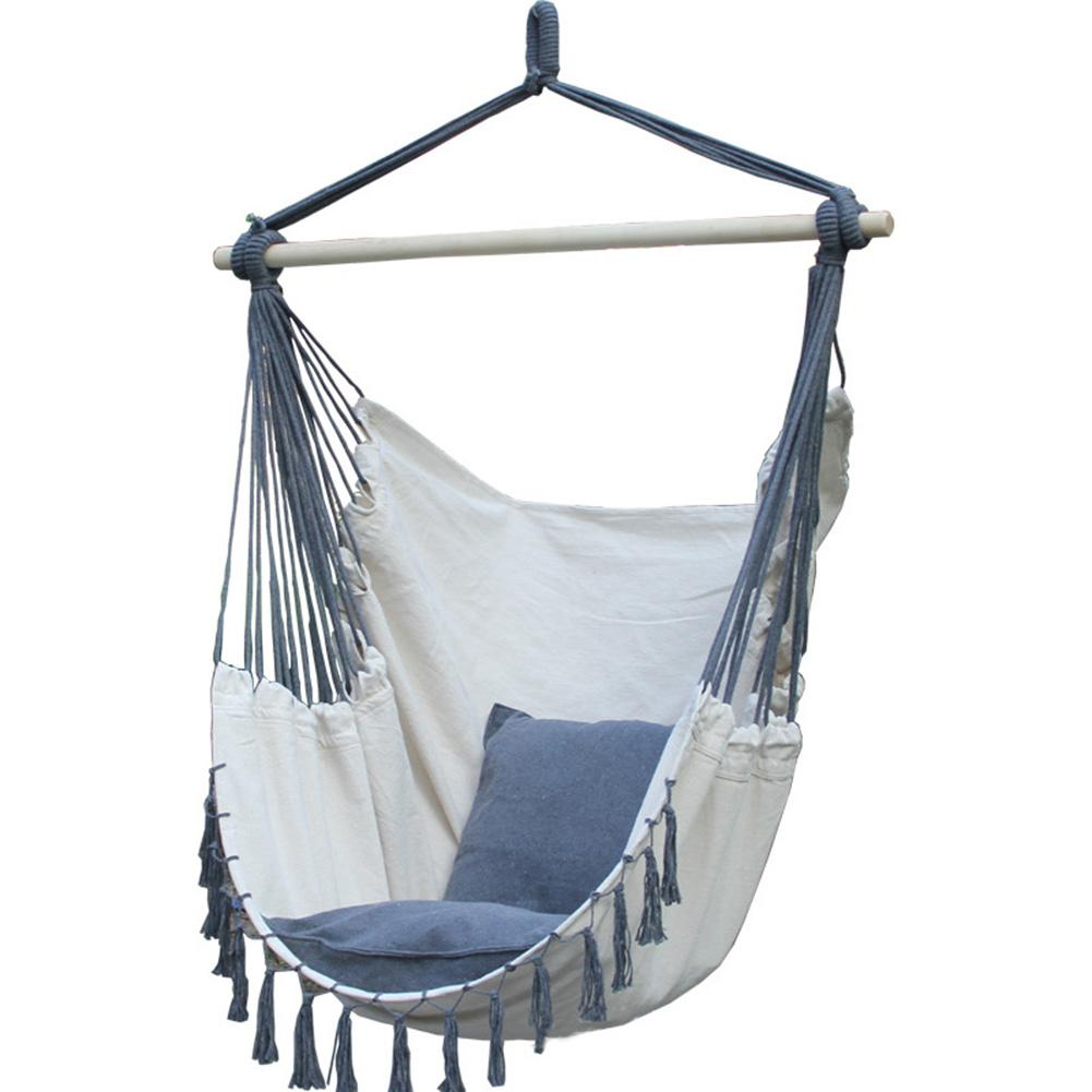 Hamac extérieur suspendu chaise de corde jardin suspendu chaise balançoire siège avec 2 oreillers chambre pour approvisionnement de jardin