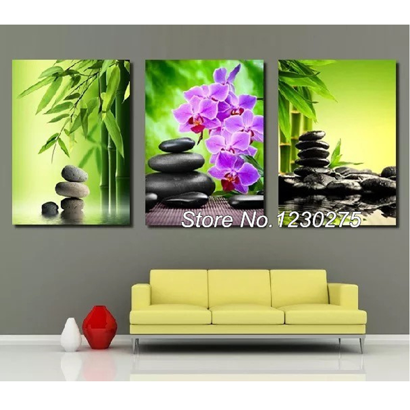 DIY Diamond Painting Cross Stitch Kits Full Diamond Embroidery 5D Square Diamond Mosaic home Decor Bamboo orchid triptych HD051