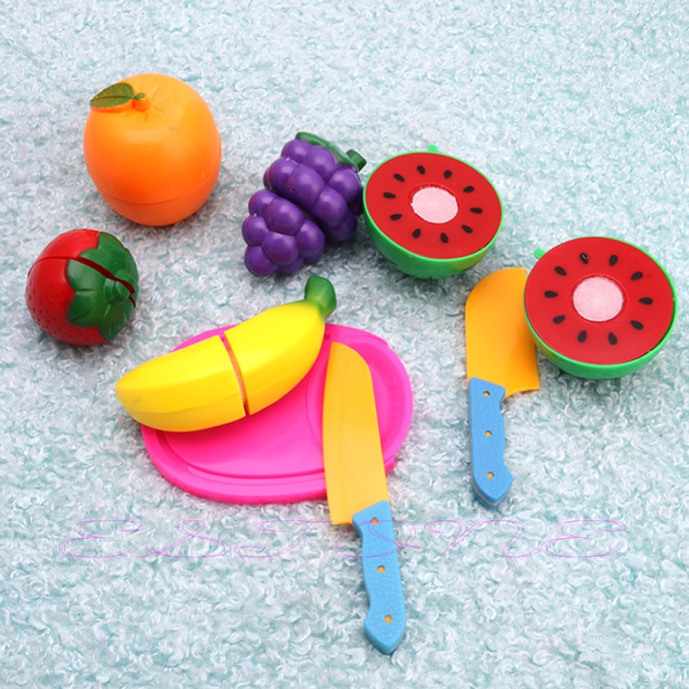 Role Play Kids Pretend Kitchen Fruit Food Plastic Cutting Set Toy Child Gift