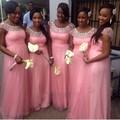 New Arrival A Line Beaded Scoop Neck Cap Sleeve Pink Bridesmaid Dress Vestidos De Festa Longo