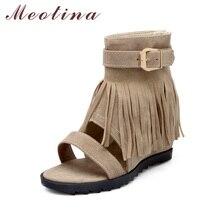 Meotina/Большие размеры 34–43 женские Летняя обувь лодыжки сандалии сапоги увеличивающие рост на среднем каблуке дамы бахромой обувь на молнии красный