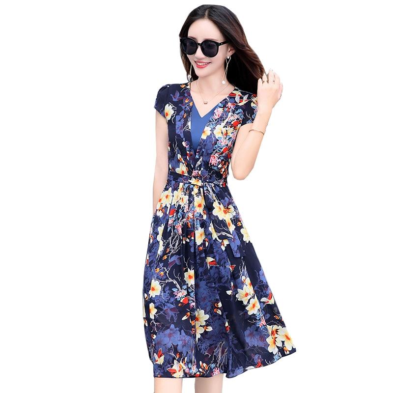 Mode Boutique soie imprimé v-cou robe de soirée 2018 nouvelle mode été en mousseline de soie élégante femmes robe grande taille Vestidos YM346