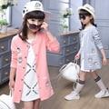 Niñas Chaqueta de Béisbol 2017 Otoño Largo Cardigan Trench Coat para Niños Adolescentes Ropa de Abrigo Largo de Algodón ropa de Abrigo Chaquetas