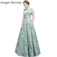 New Arrival Long Elegant Evening Dress 2017 Angel Novias Green Embroidery Lace Floor Length Party Prom